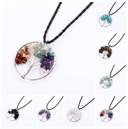 Wire Crystal Tree Canada - Natural Crystal Quartz Gemstone Chakra Living Tree of Life Charms Handmade Natural Gemstone Chips Wire Wrap Stone Bead Pendant for Necklace