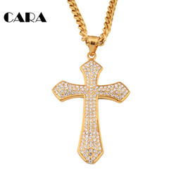 rose long chain pendant Australia - Free Shipping 2017 new Top Quality Rhinestones Cross Pendant Necklaces 27'' Chain Long Necklaces hip hop Necklaces Rose necklace CAGF0070