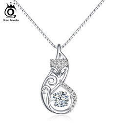 $enCountryForm.capitalKeyWord Canada - ORSA JEWELS Cute 925 Silver Fox Pedant Necklaces Insert 1ct Movable Charm Cubic Zirconia Sterling Silver Necklace Jewelry SN53