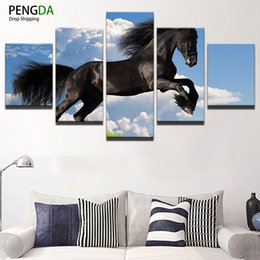 floral wall art canvas black NZ - Painting Canvas Wall Art Picture Home Decor Room Canvas Print 5 Panel Blue Sky Running Black Horse Animal Modern Painting