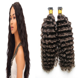 $enCountryForm.capitalKeyWord UK - Brazilian Kinky curly Human Hair I Tip Hair Extensions 100g 100s #6 Medium Brown Stick Tip Keratin 100% Remy Human Hair Extensions