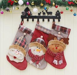 Christmas Tables Canada - Christmas socks Christmas tree decoration supplies 2018 stuff sacks outdoor sports bags Christmas Santa Claus Snowman Elk Gift Bag