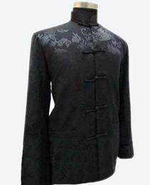 Wholesale men s mandarin collar suit resale online - Black Chinese National Trend Men s Rayon Coat Mandarin Collar Jacket Vintage Button Tang Suit Costume S M L XL XXL XXXL MJ010