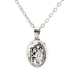 christopher necklace NZ - MIC 20pcs New European and American Fashion simple alloy ST Christopher Charms Pendant necklace Clavicle chain c12