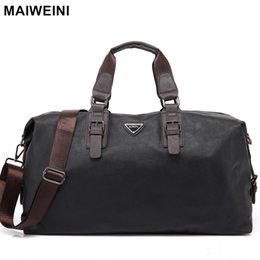 Wholesale- MAIWEINI New Fashion Leather Mens Travel Bags Large Capacity Waterproof Duffle Bag Vintage Hand Luggage Shoulder Bag