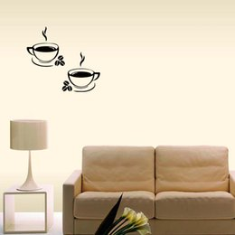 $enCountryForm.capitalKeyWord Canada - Hot Sale For 2 Coffee Cups Kitchen Wall Stickers Cafe Removable Vinyl Art Decals Graphics Decor Diy