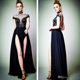 Simple Plus Size Special Occasion Dresses Canada - 2017Sexy Cap Sleeve Black Lace Appliques Evening Dresses High Split Backless 2017 Berta Latest Formal Evening Gowns Special Occasion Dresses