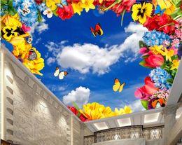 $enCountryForm.capitalKeyWord NZ - 3d photo wallpaper custom mural Blue sky white clouds butterfly flower ceiling murals home decoration living room wallpaper for walls 3d