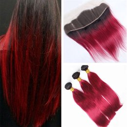 Red Human Hair Bundles Lace Frontal NZ - Dark Roots Ombre Lace Frontal With Hair Bundles 1B Red Two Tone Ombre Straight Malaysian Human Hair Weaves With Lace Frontal