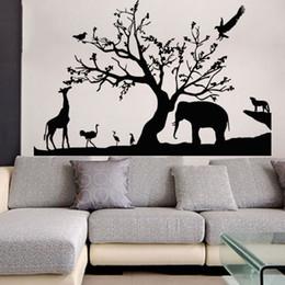 $enCountryForm.capitalKeyWord UK - New Tree Elephant Giraffe Wall Stickers Cartoon Animal Wall Decals Art for Kids Nursery Room Home Decorations