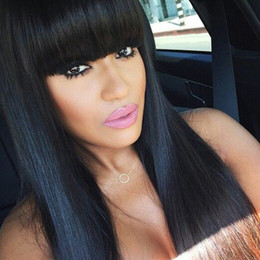 """$enCountryForm.capitalKeyWord NZ - Natural Looking 26"""" Glueless Brazilian Human Hair Silky Straight Full Lace Wig with full bangs Baby Hair For Black Women"""
