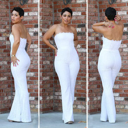 Wholesale black sleeveless strapless jumpsuit resale online – 2017 New Arrival Jumpsuit Wedding Pants for Brides Full Lace Strapless Sleeveless Open Back Wedding Pant Suit Custom Made Side Zipper Wear