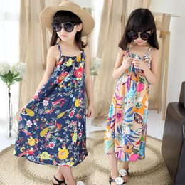 0236a740abf Kids 2017 new summer cotton floral harness dresses beach girl dresses 4 5 6  7 8 9 10 11 12 13 14 years old baby girl clothes