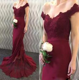 Discount soft pink sweetheart prom dresses - 2018 Elegant Off Shoulder Lace Evening Dress 2017 New Mermaid Long Bridesmaid Dress Sweep Train Soft Satin Prom Dress Mo