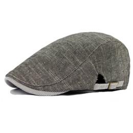 e36a202a7bb475 Wholesale-man vintage beret hat male linen flat cap gentleman leisure bone  solid newsboy chapeau