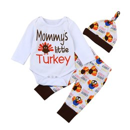 Vêtements De Jour Nouveau-né Pas Cher-3 PCS Thanksgiving Jour Bébé Vêtements Nouveau-Né Enfants Garçons Filles Tenues Costume Mommy Little Turkey Barboteuse Pantalon Chapeau Tenues Coton Ensemble Vêtements