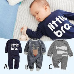 Barato Longos Macacões De Macacão-INS Baby Rompers Little Bro Deer Shark Newborn Baby Rompers Algodão Infantis Jumpsuit Outfits Infant Toddler manga comprida Romper 0-18M D945