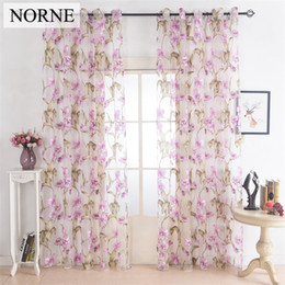 living curtains NZ - Norne Window Punching Grommet Sheer Curtains Voiles Panel for Living Room the Bedroom Kitchen Modern Tulle Curtain Floral Pattern Fabric