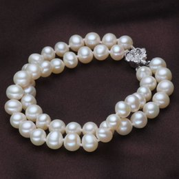 White Silver Bracelet Australia - New Fashion 100% Natural White Freshwater Pearl Bracelet with 925 sterling silver jewelry Clasp Cultured pearl