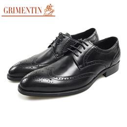 Grimentin Shoes UK - GRIMENTIN Genuine leather men oxford shoes Italian fashion designer black mens dress shoes high quality formal business wedding men shoes SD