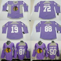 ... NHL Mens Hockey Fights Cancer Practice Jersey 1917-2017 100th Chicago  Blackhawks 72 Artemri Panarin 88 Patrick Kane 19 Jonathan Toews Purple ... b2030dcc0