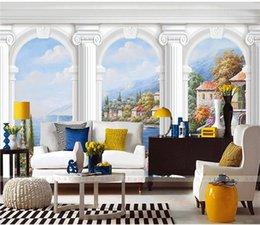 special straw NZ - Wholesale European vinyl straw lines marble pillar 3d wall murals for living room sofa background 3d photo mural wall sticker