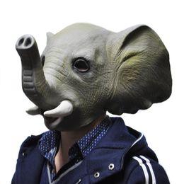 Discount elephant masks - Wholesale-Halloween Mask Adult Animal Elephant Full Latex Party Masks Fancy Dress