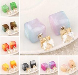 green square crystal earrings Canada - Fluorescence color Square & Crystal Double Side Stud Earrings for Women Fashion Girl's Gift Brand Cheap Jewelry