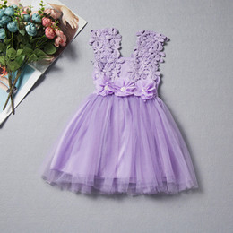 Wholesale kids in clothes for sale – custom In Stock Summer Girls Dress With Lace Sleeves Baby Vest Dresses Girls Flower Dress Girls TuTu Princess Skirt Kid Clothing Kids Skirts