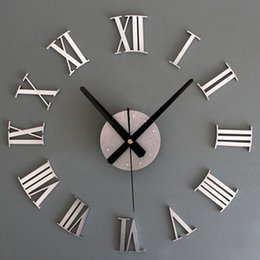 Discount plastic chic - Wholesale- New Metal Chic DIY Adhesive Silver Vintage Roman Numeral Number Wall Clock 3D Home Decor Living Room