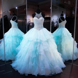 Robe Bleue À Long Tulle Pas Cher-Light Blue Major Beading Quinceanera Dress Robe de bal Sheer Sequins Halter Ruffles Prom Dress Long Lace Up vestidos de Pageant Dress For Teen