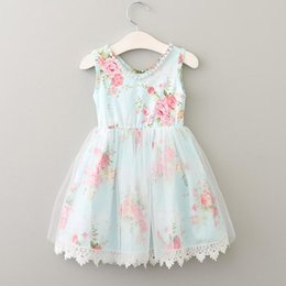 Floral Lace Green Canada - Kids Girls Lace Dresses Baby Girl Floral Print Vest Dress Boutique 2017 Infant Princess Pearl Tulle Dress for Party Children Clothing B109