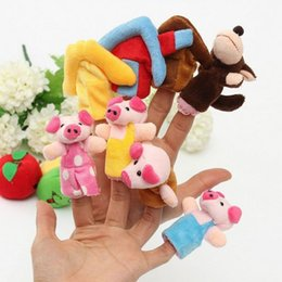 Discount puppets - 8pcs Set Animal Finger Puppet Plush Toys Cartoon Lovely Child Baby Favor Doll Kids Gifts Free shipping
