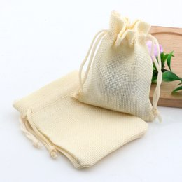 Discount linen jute bag - Hot ! 50pcs Beige Linen Fabric Drawstring bags Candy Jewelry Gift Pouches Burlap Gift Jute bags 7x9cm