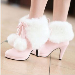 Hot Pink High Heel Ankle Boots Canada - Wholesale New Arrival Hot Sale Specials Super Influx Warm Knight Plush Noble Martin Ball Students Winter Sweet Heels Ankle Boots EU34-43