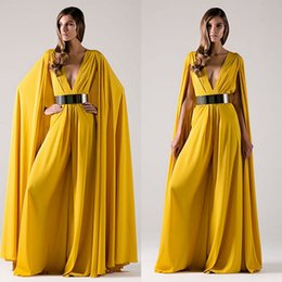 Barato Calças Compridas Para Mulheres-Amarelo Modes Chiffon Long Wrap Evening Dress Sexy Deep V-Neck 2017 árabe calças femininas vestidos Long Fashion formal vestidos vestidos Evening Wear