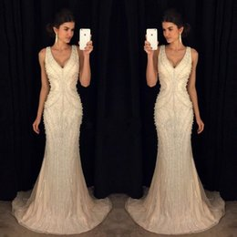 Celebrities wearing pearl pink dresses online shopping - 2019 Elegant Mermaid Formal Evening Dresses V Neck with Pearls Long From Celebrity Gowns Dress for Party Wear DTJ