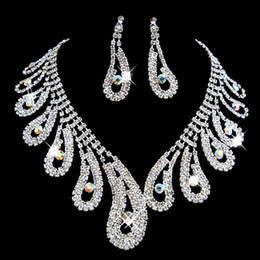 Diamond Jewelry Sets Sale NZ - Luxury Bridal Accessories diamond Crystal Necklace Earring Accessories Wedding Jewelry Sets Fashion engagement jewelry Hot Sale