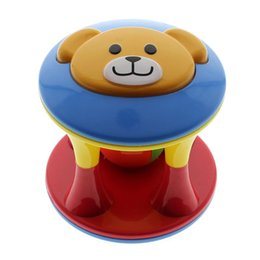 Barato Venda De Brinquedos Para Crianças-Atacado- 2016 Hot Sale Bright Colors Cute Baby Toddlers Fun Bear Head Jingle Rattle Rolling Ball Ring Bell Grasp Hand Toy