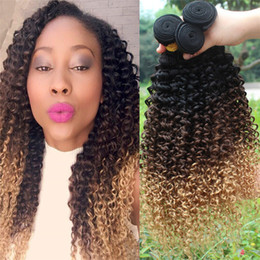 $enCountryForm.capitalKeyWord Canada - 8A Grade Ombre Indian Curly Hair Bundles #1B 4 27 Dark Roots Ombre Kinky Curly Virgin Hair Weaves Three Tone Ombre Hair Extensions