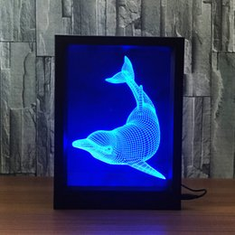 $enCountryForm.capitalKeyWord Australia - 3D Dolphin LED Photo Frame Decoration Lamp IR Remote 7 RGB Lights DC 5V Factory Wholesale Drop Shipping