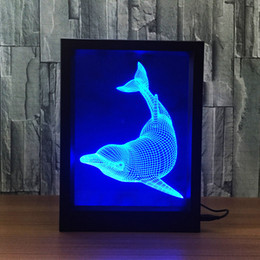 heart decoration candle UK - Dolphin LED Photo Frame Decoration Lamp IR Remote 7 RGB Lights DC 5V Factory Wholesale Drop Shipping Color Gift Box