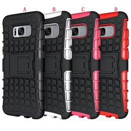 case silicone tire NZ - Armor Tire Hybrid Stand Hard PC + TPU Case For Samsung Galaxy S8 PLUS LG Aristo Metropcs LV3 MS210 K8 2017 Tyre Shockproof Square Skin Cover