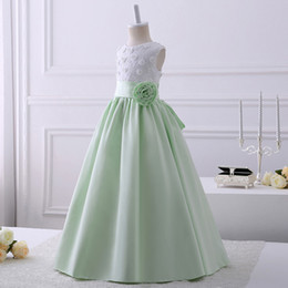 Barato Party Girls Vestido Fotos-2017 Real Pics Lace Appliques Flower Girl Dresses Scoop Decote sem mangas Comprimento do chão Kids Wedding Party Gown Custom Made