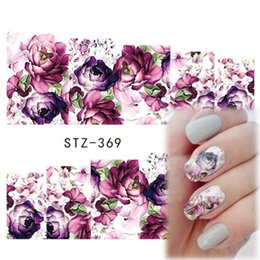 Décalcomanies Patchs Ongles Pas Cher-Vente en gros - 1pcs Hot Beauty Nail Art Decals Designs de fleurs Purple Rose Full Cover Conseils Full Patch Nail Sticker Decoration Tools STZ369