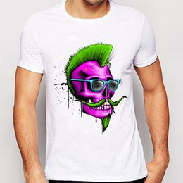 Barato Camisas Retro Crânio-Track Ship + 2016 New Vintage Retro RockRoll Punk Mens Tees novidade Design T Shirts Cute Purple Skull Grow Green Bearded