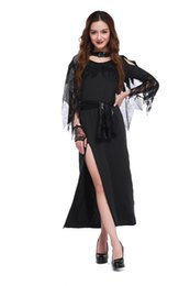 Barato Trajes De Noite De Vampiros-2017 New Halloween Night Ghost Witch Cosplay Costume Witch Vampire Costume Party Dress