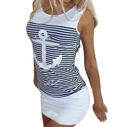 Robe De Femme En Gros Pas Cher-Vente en gros- Hot 2017 Summer Women Dresses Casual Sailor à rayures Chemise à capuche Robe de soirée Sexy Bodycon Dress Party Club Robes