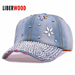 $enCountryForm.capitalKeyWord Canada - Wholesale- Lady fashion Denim crystal flower Jean denim Distressed Baseball Cap Hat shining bling Hat Curved Ball Cap women summer hats