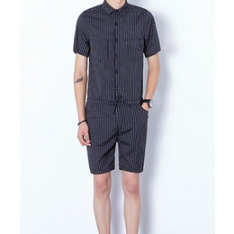 2b4883ba7c Male blue and black striped casual rompers and Jumpsuits summer short  sleeves overalls shorts pants for adult men labour suits